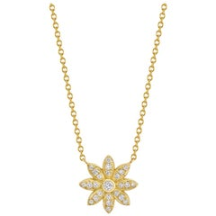 Gold Flower Necklace with Diamonds
