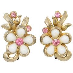 Gold Flower Rose and White Crystal Earrings, Screw Back, Vintage
