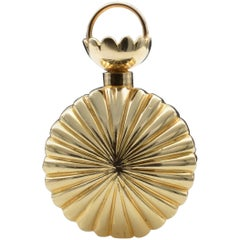 Gold Fluted Perfume Bottle Pendant