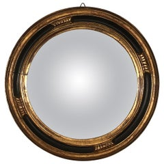 Gold Foil and Black Lacquered Details Rounded Mirror, Convex Glass, France 1950s