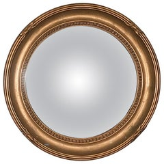 Gold Foil Rounded Convex Glass Mirror, France, 1940s