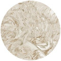 Gold Forest Circle - Beige Modern Hand Knotted Wool Bamboo Silk Rug