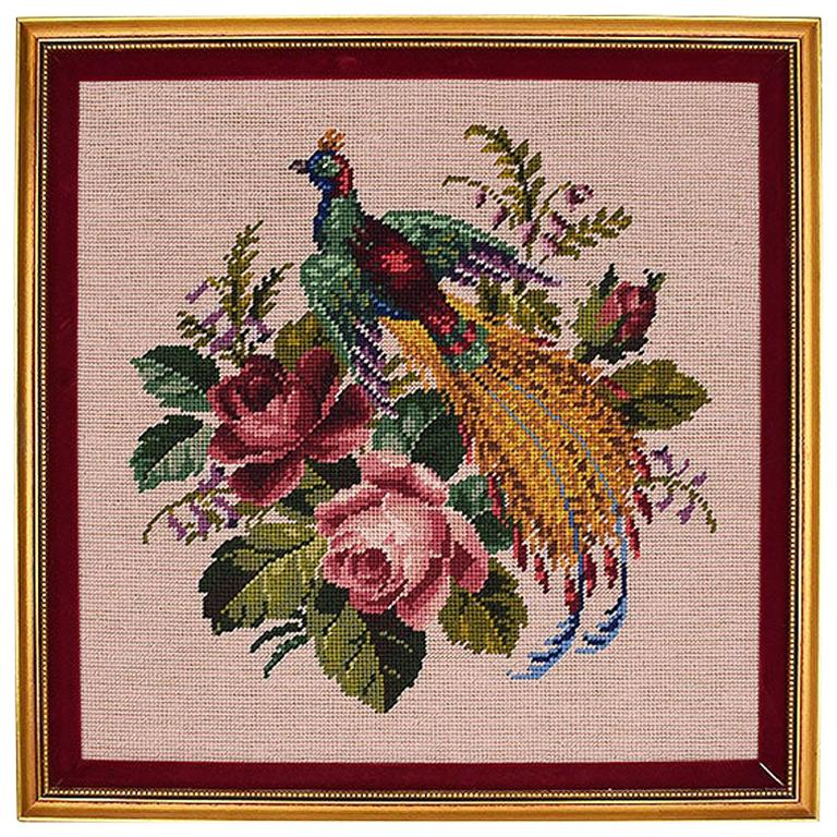 Gold Framed Embroidered Needlepoint Floral and Peacock Wall Hanging