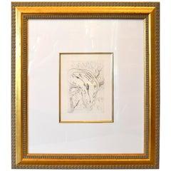 Gold Framed Salvador Dali Style Etching Print Melting Clock