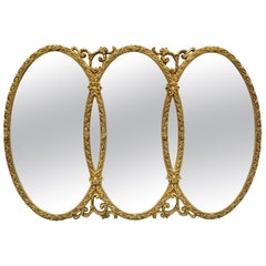 Gold French Hollywood Regency Triptych Interlocking Oval Mirror by Union City