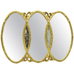Gold French Hollywood Regency Triptych Triple Interlocking Oval Wall Mirror