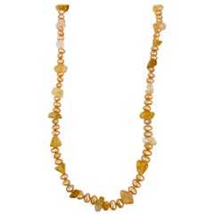 Gold Fresh Water Pearls & Citrine Beaded Necklace
