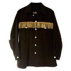 Embellished Oversize Gold Fringes Jacket Black Military Silver Button J Dauphin