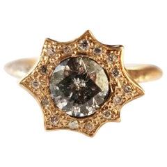 Gold Galaxy and Champagne Diamond Halo Burst Ring in 14 Karat Gold