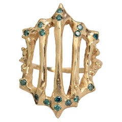 Gold Gate Ring with Diamonds