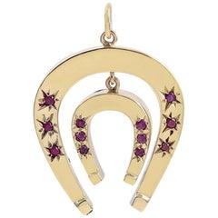 Gold Gemset Double Horse Shoe Pendant or Charm