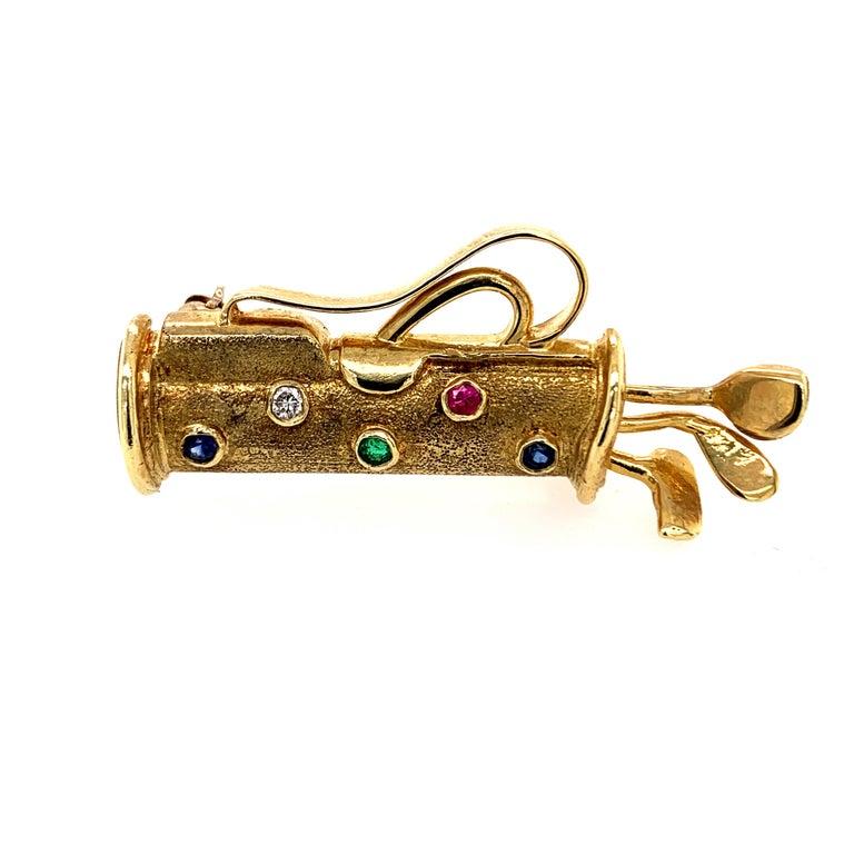 Gold Gemset Golf Club Bag Pin For Sale 2