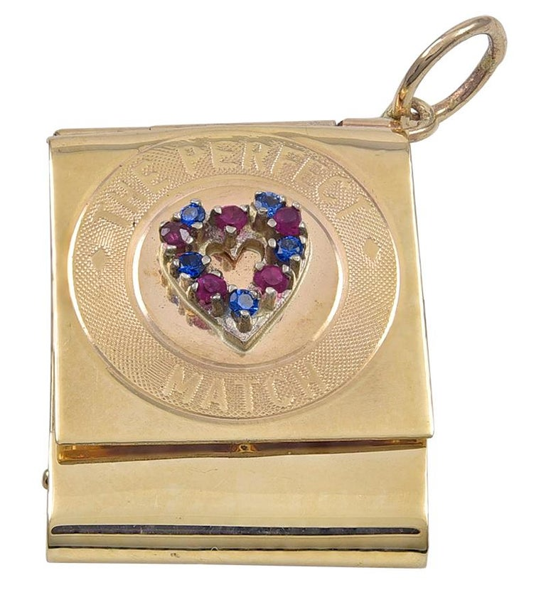 Gold Gemset Perfect Match Charm In Excellent Condition For Sale In New York, NY