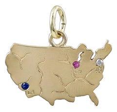 Gold Gemset USA Map Charm