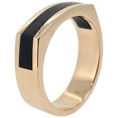Gold Gent Ring, Modern Design, Ebony Wood, Handmade