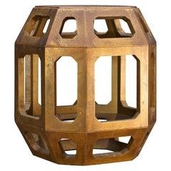 Gold Geometric Egg Barrel Drum Table Pedestal Brown Bohemian Rustic Cabinmodern