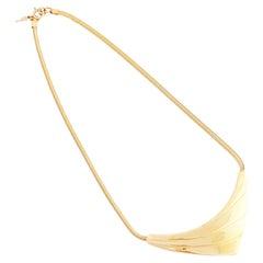 Gold Geometric Modernist Snake Chain Choker Necklace By Crown Trifari, 1960s