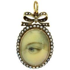Gold Georgian Lover's Eye Pendant