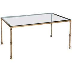 Gold Gild Metal Base Glass Top Dining Table