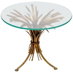 Gold Gild Metal Wheat Sheaf Round Glass Top Side Occasional Table Stand