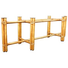 Gold Gilded Bamboo Rattan Coffee Table Base by McGuire Furniture