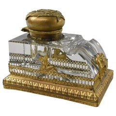 Gold Gilded French Cut Glass Inkwell Hera with Peacock, Eagle Relief
