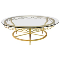 Gold Gilded Steel Italian Round Mid Century Modern Coffee Table, circa 1970