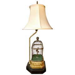 Gold Gilt and Brass Bird Cage Lamp