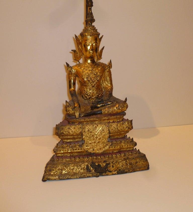 Gold Gilt Bronze Thai Statue of Meditating Buddha For Sale 7