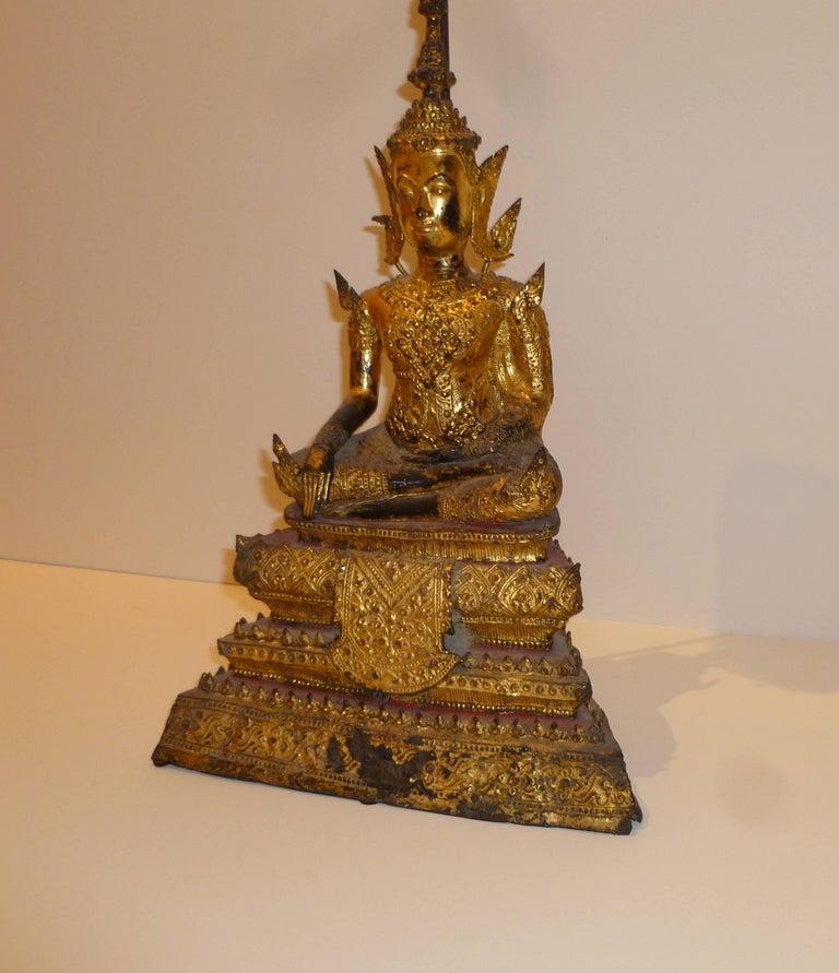 Gold Gilt Bronze Thai Statue of Meditating Buddha For Sale 8