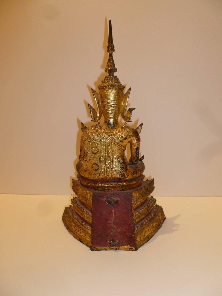 Gold Gilt Bronze Thai Statue of Meditating Buddha For Sale 9