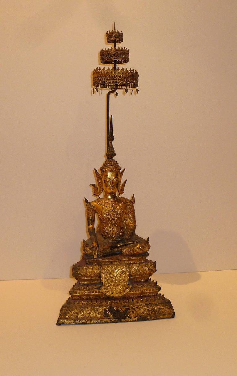 19th Century Gold Gilt Bronze Thai Statue of Meditating Buddha For Sale