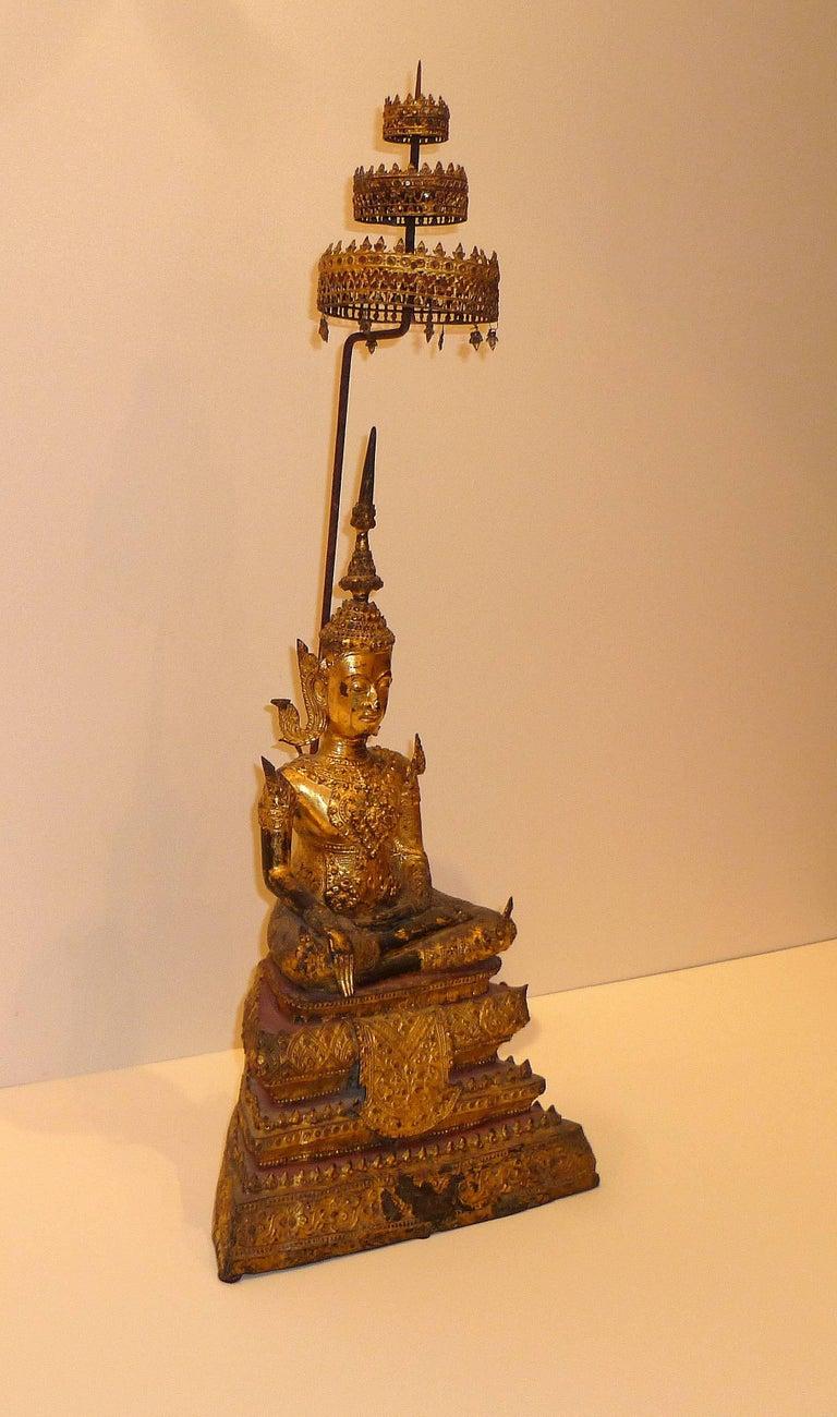 Gold Gilt Bronze Thai Statue of Meditating Buddha For Sale 1