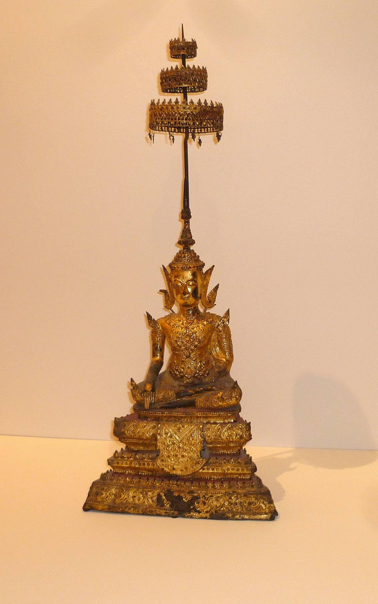 Gold Gilt Bronze Thai Statue of Meditating Buddha For Sale 2