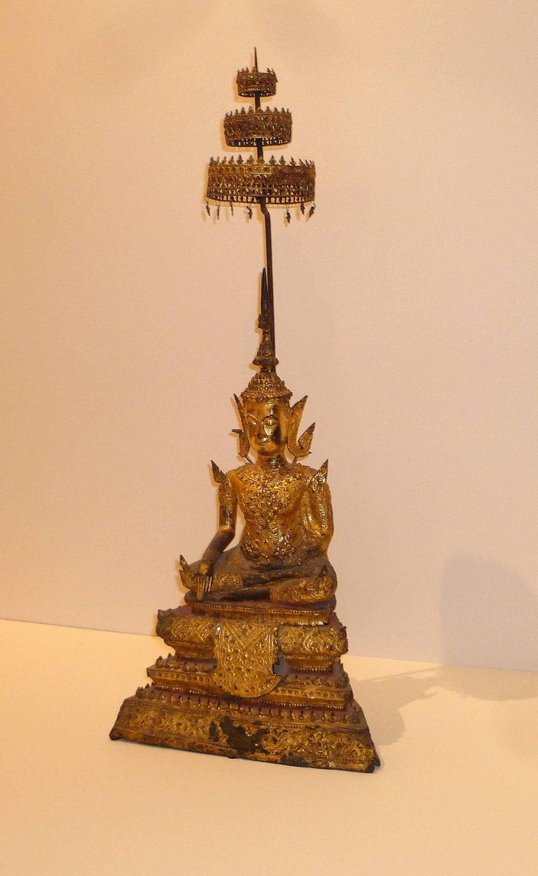 Gold Gilt Bronze Thai Statue of Meditating Buddha For Sale 3
