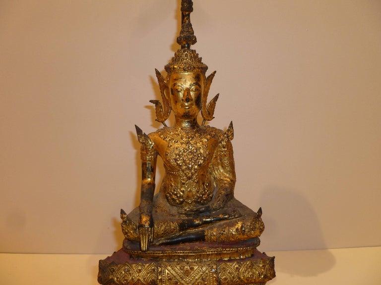 Gold Gilt Bronze Thai Statue of Meditating Buddha For Sale 4