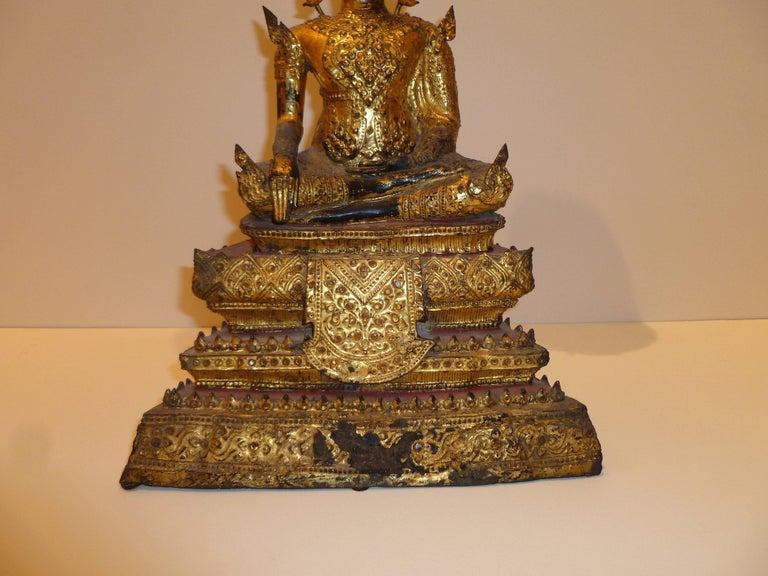 Gold Gilt Bronze Thai Statue of Meditating Buddha For Sale 5