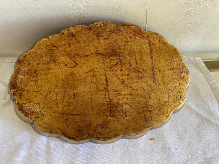 Gold Gilt Ceramic Platter In Good Condition For Sale In Great Barrington, MA