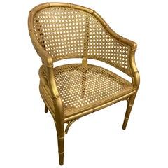 Gold Gilt Faux Bamboo Arm Chair