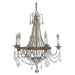 Gold Gilt French Empire Style Six-Light Chandelier