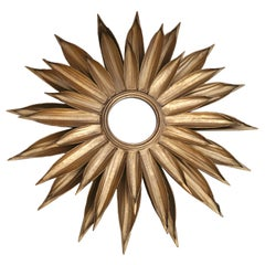 Gold Gilt French Sunburst Sunflower Flower Mirror