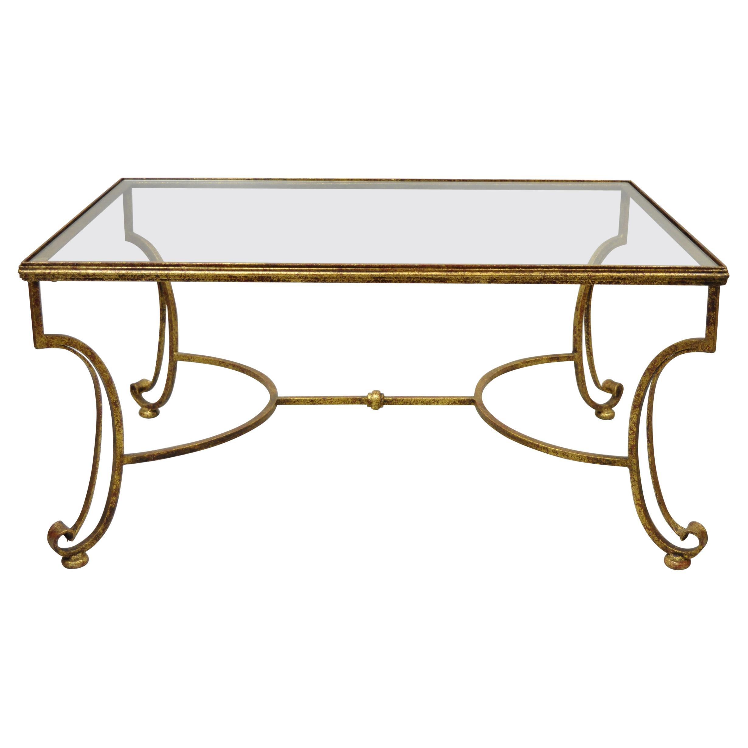 Gold Gilt Iron Glass Top Italian Hollywood Regency Rectangular Coffee Table