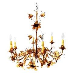 Gold Gilt Italian Tole Lily Six-Light Chandelier
