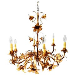 Gold Gilt Italian Tole Lily Six-Light Chandelier