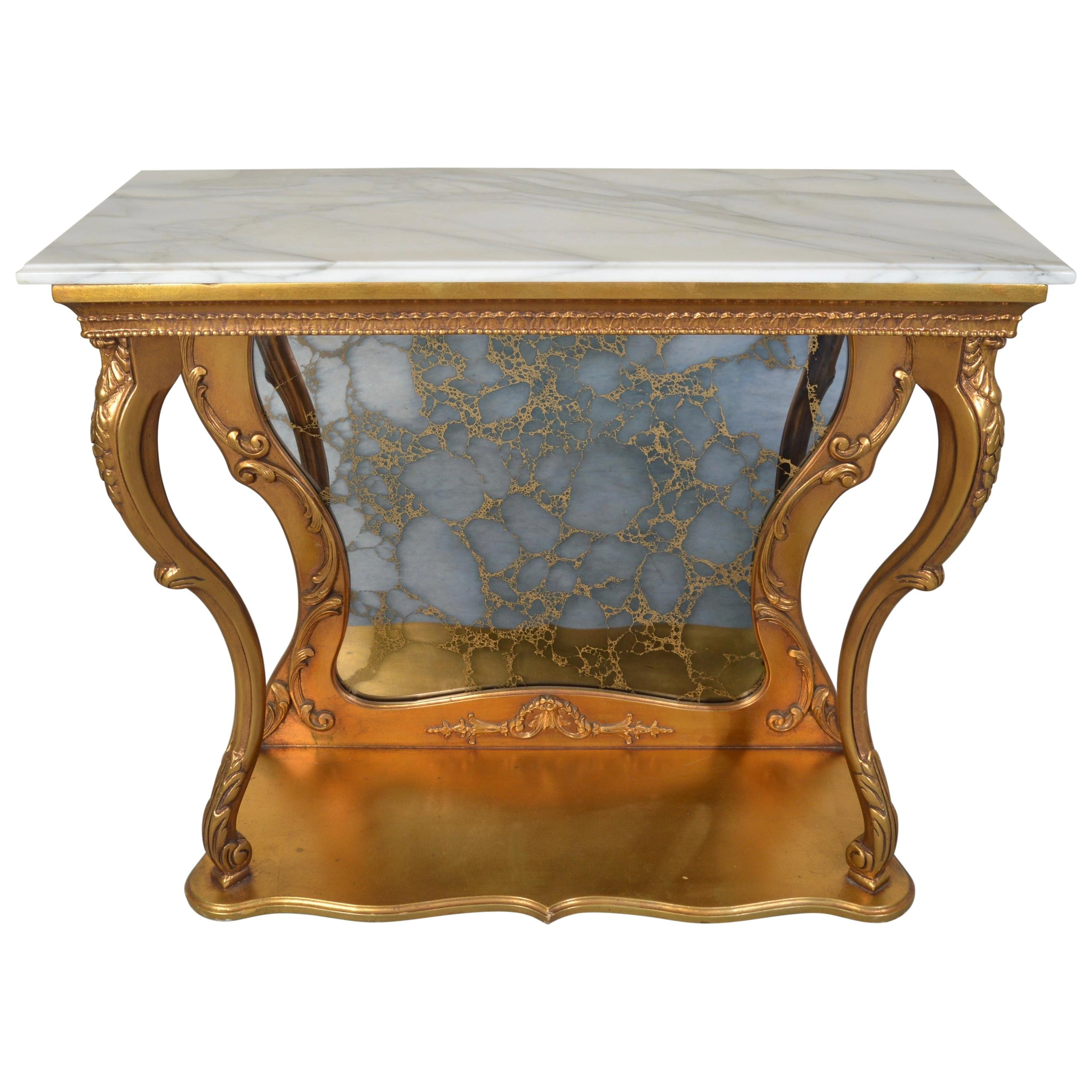 Gold Gilt Louis XV Style French Marble Top Console Table with Antiqued Mirror