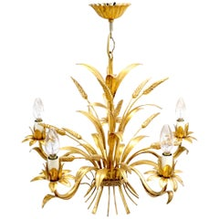 Gold Gilt Metal Cattail Sheaf Light Fixture Chandelier