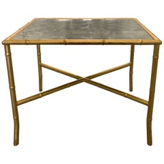 Gold Gilt Metal Faux Bamboo and Mirror Side Table