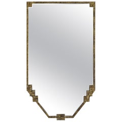 Gold Gilt Metal Framed Shield Shape Mirror, France, 1930s
