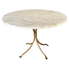 Gold Gilt Metal Garden Table Base with Round Marble Top