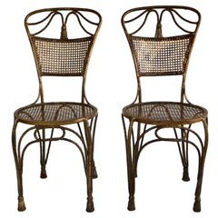Gold Gilt Metal Rope and Tassel Hollywood Regency Chairs, 1950s